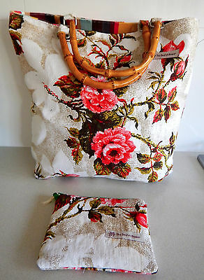 Secret Bower new vintage barkcloth cotton tote bag with matching zippered purse