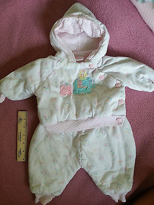 Vintage Little Girls Matching 2 Piece, Top/pants, 3-6 Months -Elephants On Front
