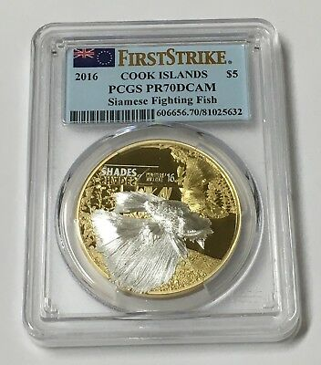 2016 $5 Cook Islands Silver Coin PCGS PR70DCAM Siamese Fighting Fish