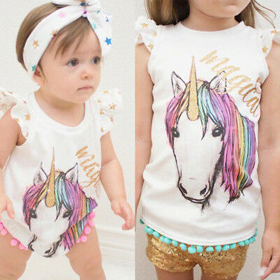 Baby Kid Girl Toddler Unicorn Cartoon Romper Top T-shirt Sister Matching Clothes