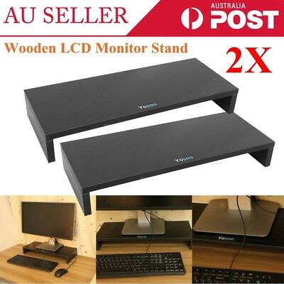 2X 1 Layer LCD LED Monitor Stand Riser Desktop Computer Display Organizer Shelf