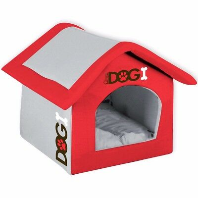 LARGE RED DOG HOUSE BED + MATTRESS Warm Fabric Pet Shelter Collapsible/Folding