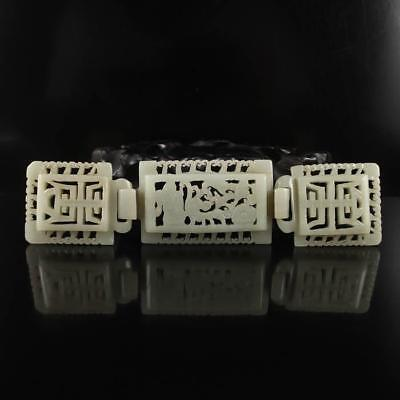 Chinese Natural Hrtian Jade Belt Buckle.