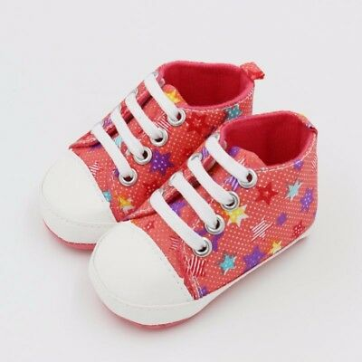 Infants Boy Girl Casual Sole Crib Shoes Soft Lace Prewalkers Sneaker 0-6M Pink