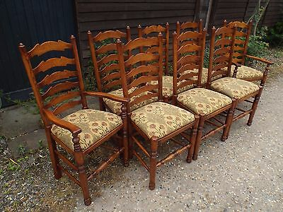 Set of Eight (6+2) Solid Oak Antique Style Dining Chairs BRIGHTS OF NETTLEBED 2