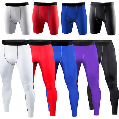 Men Sport Pants Armour Mid Compression Under Base Layer Shorts Pants Tights