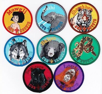THE JUNGLE BOOK BADGES - full set of 8 Cub Scout Badges - Scouts Australia, NICE