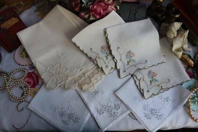 Job Lot Vintage Linen Napkins Mixed Lot Some Hand Embroidered