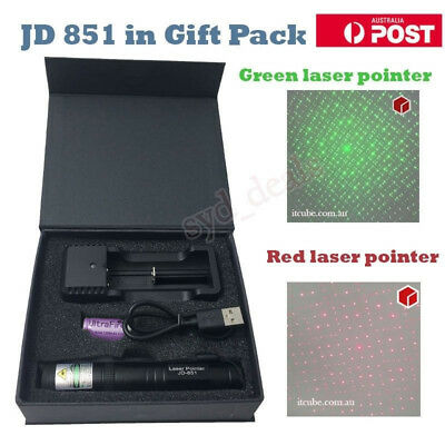 USB Charger Green Red Set JD851 Laser Pointer 1mW Focus 532nm 16340 Rechargeable