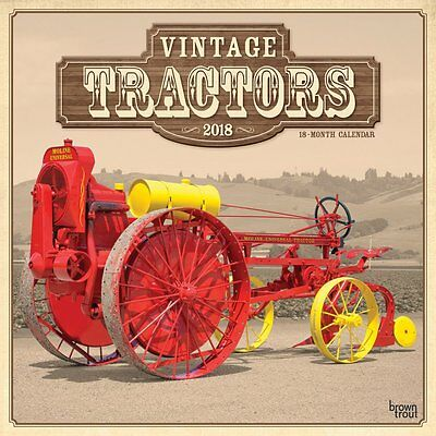 Tractors, Vintage 2018 Wall Calendar by Browntrout NEW - Postage Included