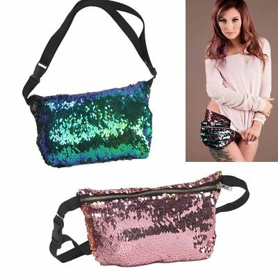 Fashion Mermaid Sequin Glitter Waist Fanny Pack Belt Bum Bag Pouch Hip Purse AU
