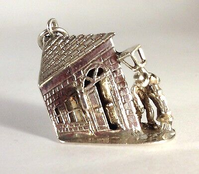 Solid Silver charm of old world Inn with a drunk hanging off lamp post moving 3D