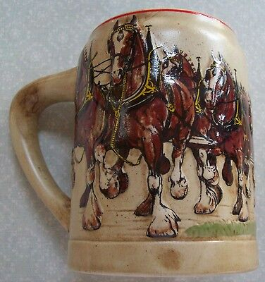 Budweiser CS 19 1980 8 Horse Team & Wagon Beer Mug by Ceramarte