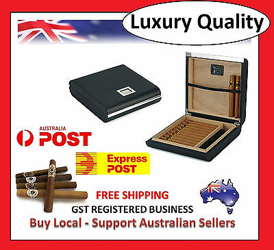 Hand Made 25 Count Cigar Humidor Box Carbon Fiber Leather Travel Hygrometer Y