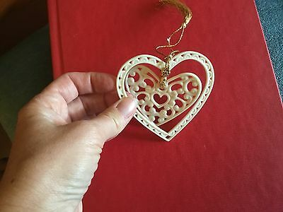 LENOX Ivory bisque heart within a heart Christmas ornament 🎄