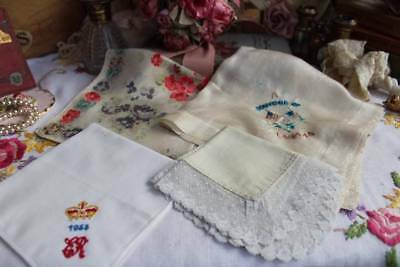 4 Vintage Embroidered & Lace Handkerchiefs Hanky