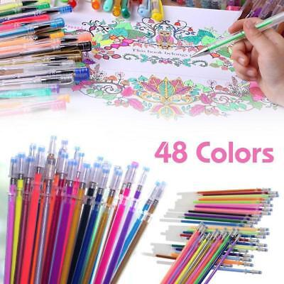 48 Colors Gel Pen Refills Glitter Drawing Painting Craft Markers Stationery PK