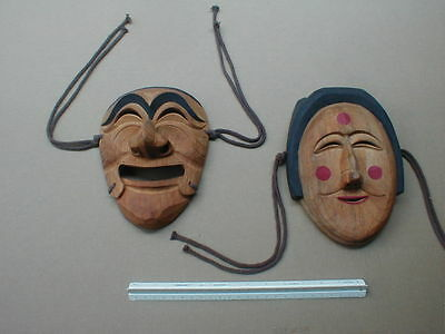 Korean Asian Carved Wood Theater Mask LOT Hinged Jaw Folk Art Costume Carving