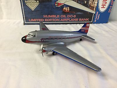 Die Cast Dc-3 Metal Airplane Bank: Humble Oil New In Box !!