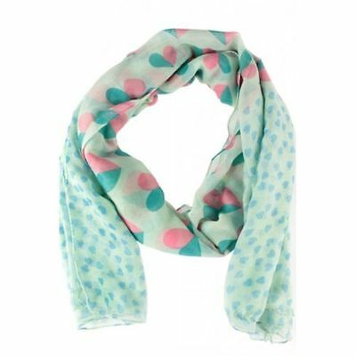 Brand New Ladies Lovely Pale Blue Multi Heart Print Spring Summer Scarf