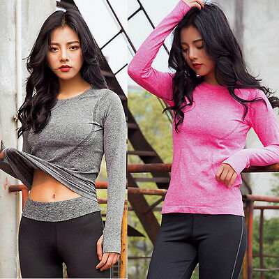 New Women Long Sleeve Sports Blouse Shirt Gym Yoga Fitness Quick Dry Blouse Tops