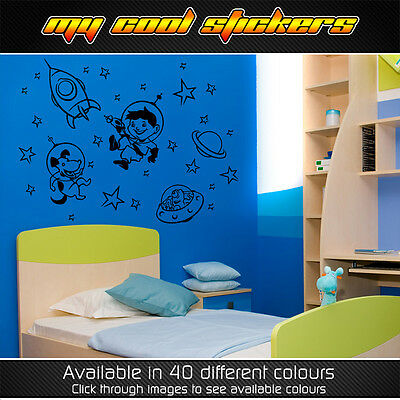Space Themed Removable Wall Stickers Kids Baby Room rocket alien stars boy dog