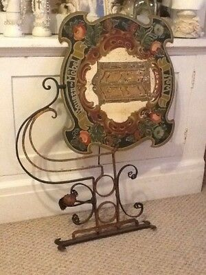 Rare Antique German Wrought Iron Hand Painted Floral Metal Flange Store Sign