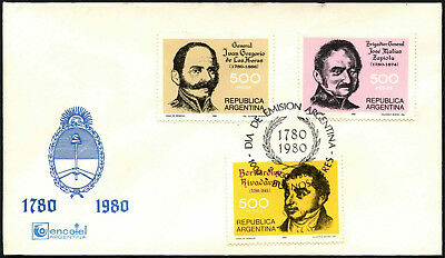 Argentina 1980 National Heroes FDC First Day Cover #C43440