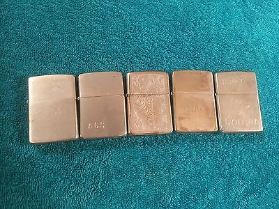 Lot of 5 ENGRAVED Vintage Zippo Lighters Used Parts Cigarette TED MAC AGS SMD