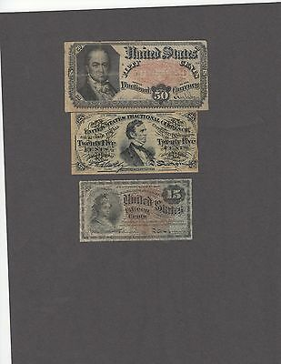 Presentable Fractional Currency Lot-15, 25 50 Cents