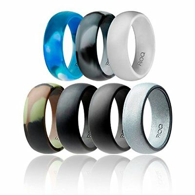 Silicone Wedding Ring For Men By ROQ Affordable Rubber Band 7 Pack Camo Metal 10