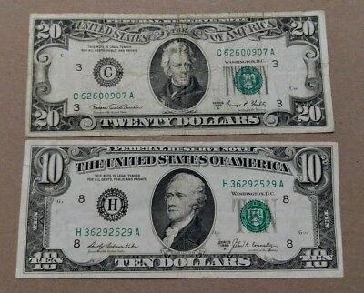 (2) 1969 Federal Reserve Note Circulated Us Dollar Bills $20 & $10 Ungraded Lot