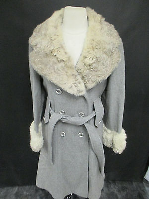 Jill Jr. Rabbit Fur Collared Wool Button-Up Coat