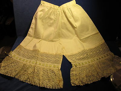 Antique Victorian Cotton and Lace Bloomers Undergarment