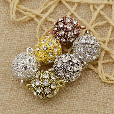5pcs Crystal Pave Round Ball Magnetic Clasp Strong Connector Closure Jewelry DIY