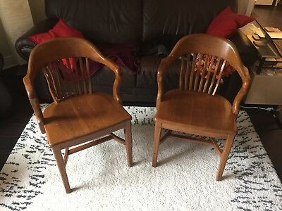 Art Deco Antique Vintage Attorney Courthouse Office Wood Arm Chairs (2)