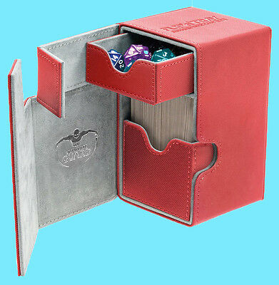 ULTIMATE GUARD FLIP n TRAY RED 100+ CASE XENOSKIN Standard Size Card Box MTG