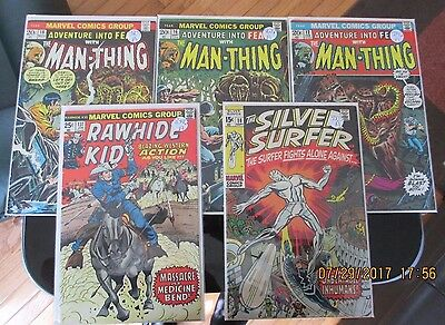 The Silver Surfer #18 Sharp VG+, Man-Thing #12, 16, & 18 and Rawhide Kid # 131