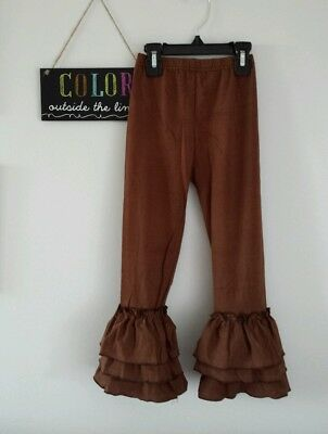 Girls size 1-2 12-24 18 24 months brown triple ruffled pants new