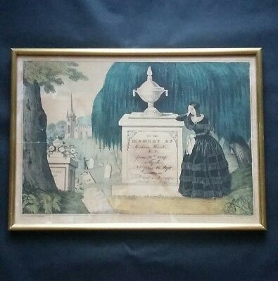 Antique Victorian Georgian 1837 Cemetery Graveyard Mourning Lithograph Print