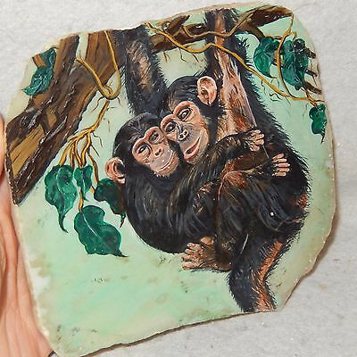 Signed Hand Painted Oil Painting MONKEY Chimps on MARBLE Stone Rock Art Slab