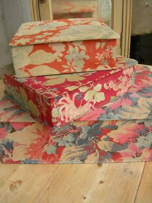 Three antique French fabric covered boudoir boxes 1920s - jewel florals