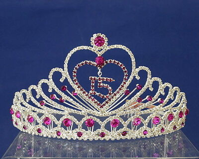 Fuchsia Quinceanera Tiara Crown - Sweet 15 - Mis Quince Anos Diadem with Combs