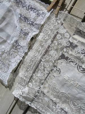 2 antique Victorian lace wedding handkerchiefs - Point de Gaze & tambour