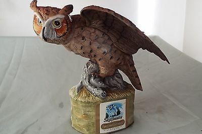 1974 Ski Country Decanter Big Horned Owl Full Size Beautifully Hand Painted