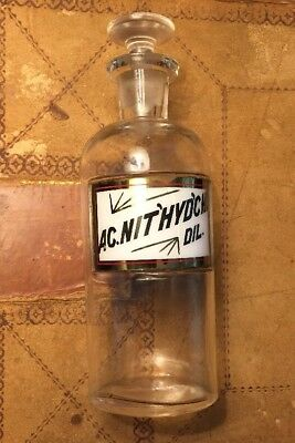 Antique Apothecary Drug Chemist Bottle Nitric Acid Hydrochloric Acid Glass Lug