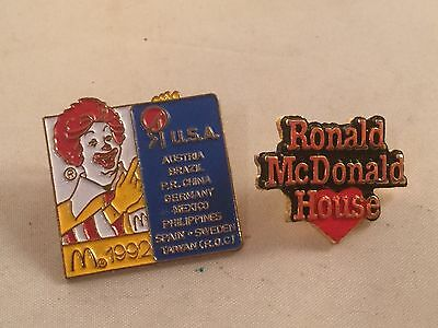 2 Old Ronald McDonald Pins Pinbacks Ronald McDonald House 1981 Advertising