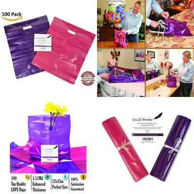 100 plastic shopping bags 12x15, pink and purple extra thick reusable retail