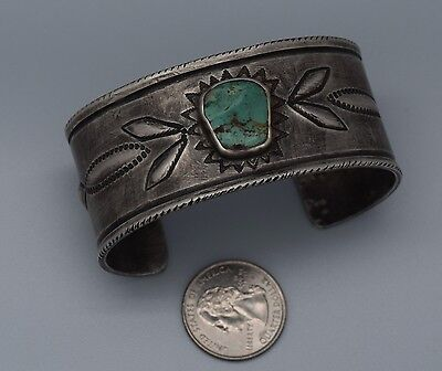 Superb Acoma Silversmith Greg Lewis Hand Forged Sterling Silver/turquoise Cuff