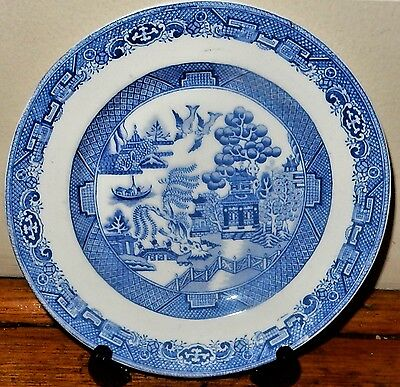 WILDBLOOD HEATH & SONS Blue & White WILLOW PATTERN PLATE Clifton China pre c1927